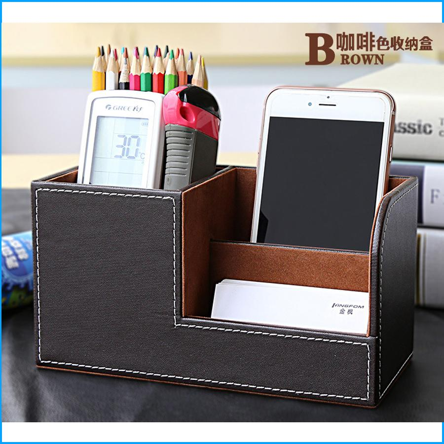 PU Leather 3 Grids Multifunctional Desk Stationery Office Organizer Storage Box Pen Pencil Box, Business Card Holder Case