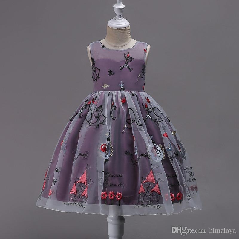 2017 childrens linda princesa vestidos de festa de crianças roupas de bebê meninas dos desenhos animados roupas criança vestido de baile vestido para 110-170 cm