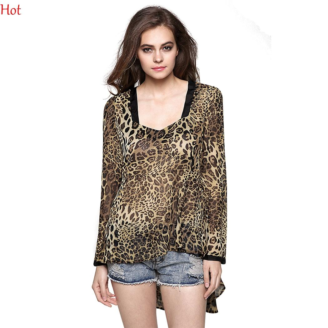 3091f3a5a63 New Lady Women Leopard Blouse Fashion Long Sleeve Square Neck Print ...