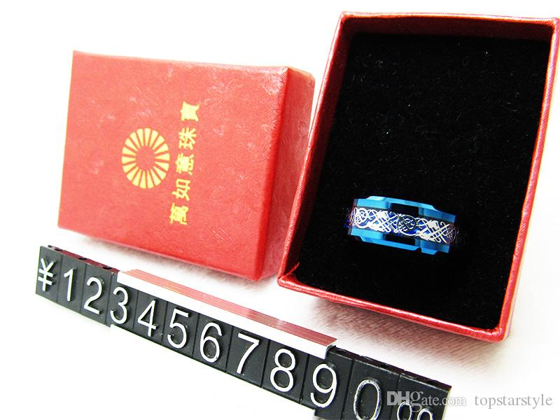 8mm Fashion Jewelry Blue Tungsten Carbide Ring Dragon Inlay para hombres WRY-995