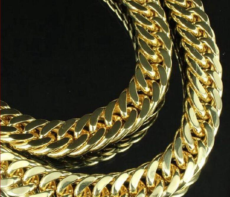 Fine Star Grueso grueso cadena 24k sólido oro amarillo NecklaceMen 23.6