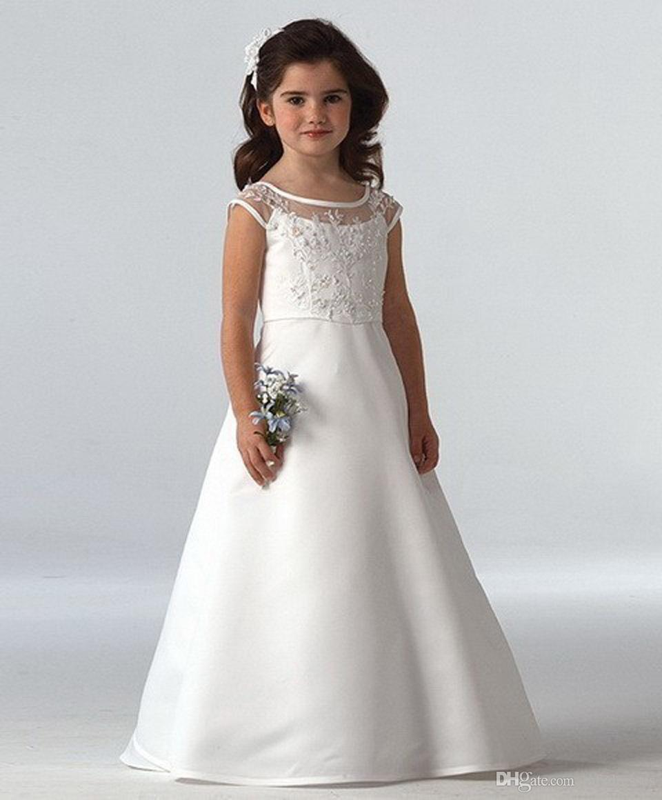 2016 white scoop neckline ruffles a-line long first communion dresses for girls infant baby girl christening dress flower girl dresses