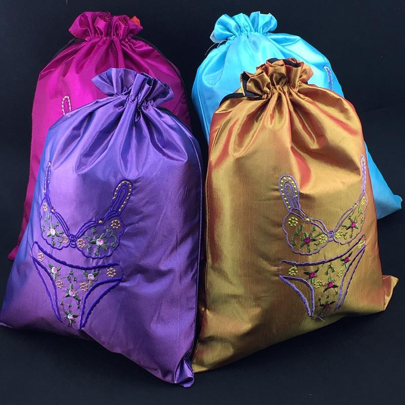 Kvinnor Silk Fine Broderad resväska för underkläder BRA Förvaringsväska Högkvalitativa Drawstring Underkläder Förpackningspåsar Partihandel 30st /