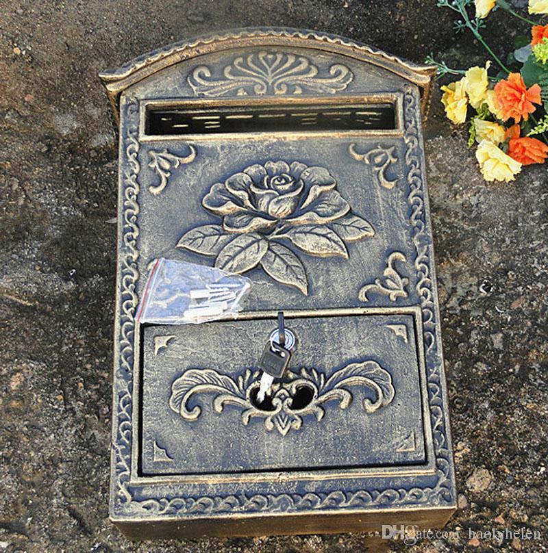 Cast Aluminum Flower Mailbox Embossed Trim Bronze Decorative Metal Mail Post Letters Box Postbox for Home Cottage Garden Vintage Lockabled