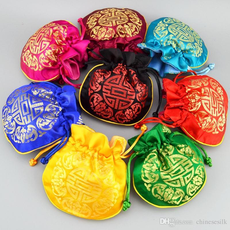 Китайский Радостный Узор Маленький Шелковый Парчи Мешок Drawstring Ювелирные Изделия Подарок Мешки Монета Карман Пустой Чай Конфеты Мешок Свадьба Пользу