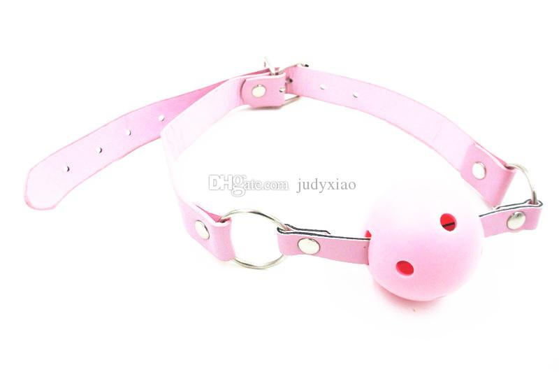 Giochi sessuali di alta qualità PU sferico RING Mouth Ball Gag Sex Restraint Bouth Port Plug Toy