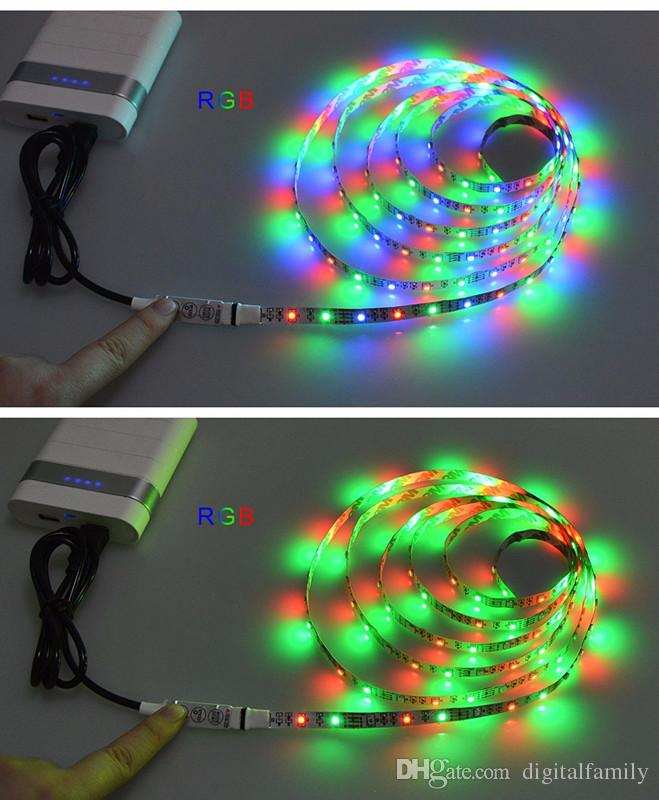 Hot sale 5050 DC 5V USB Power Supply Decor RGB LED Strip light lamp Tape 50CM 1M 2M Ribbon White / Warm White / RGB for Computer Desktop