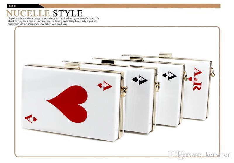 Bester Preis Heiße Acryl Abendtaschen! Markendesigner Kupplung Damen Königin Handtasche Geldbörse Hartkette Box Parfüm Tasche Kunststoff Poker - RC031