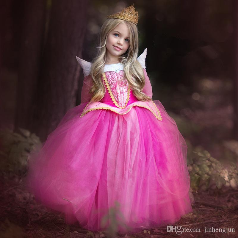2017 Princess Girl Elsa Dress Sleeping Beauty Halloween Costume ...
