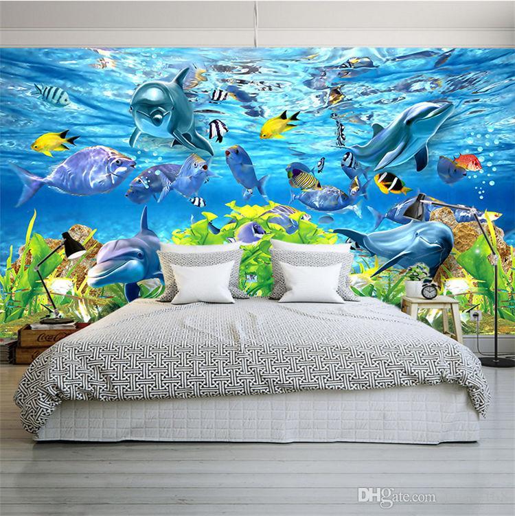 Frete Grátis 3D papel de parede personalizado mundo subaquático peixe marinho mural crianças quarto TV backdrop aquário papel de parede mural
