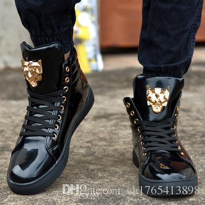 new fashion high top sports shoe for men pu leather lace