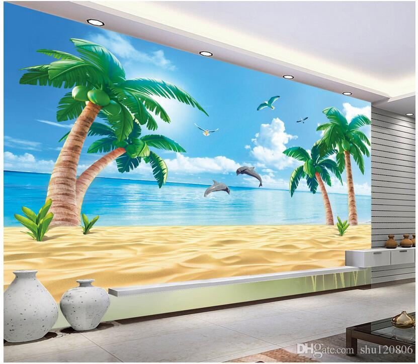 3d wallpaper custom photo non woven mural hd beach coconut for Beach mural painting