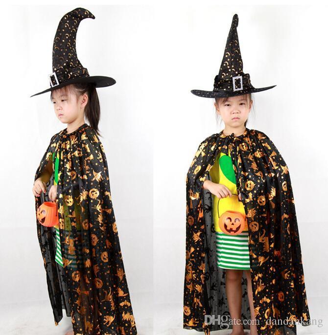 Enfants Sorcière Chapeau Capuche Vêtements Vêtements Enfants Halloween Costume et Halloween Cosplay Kids Performance Vêtements 50Se Expédition gratuite