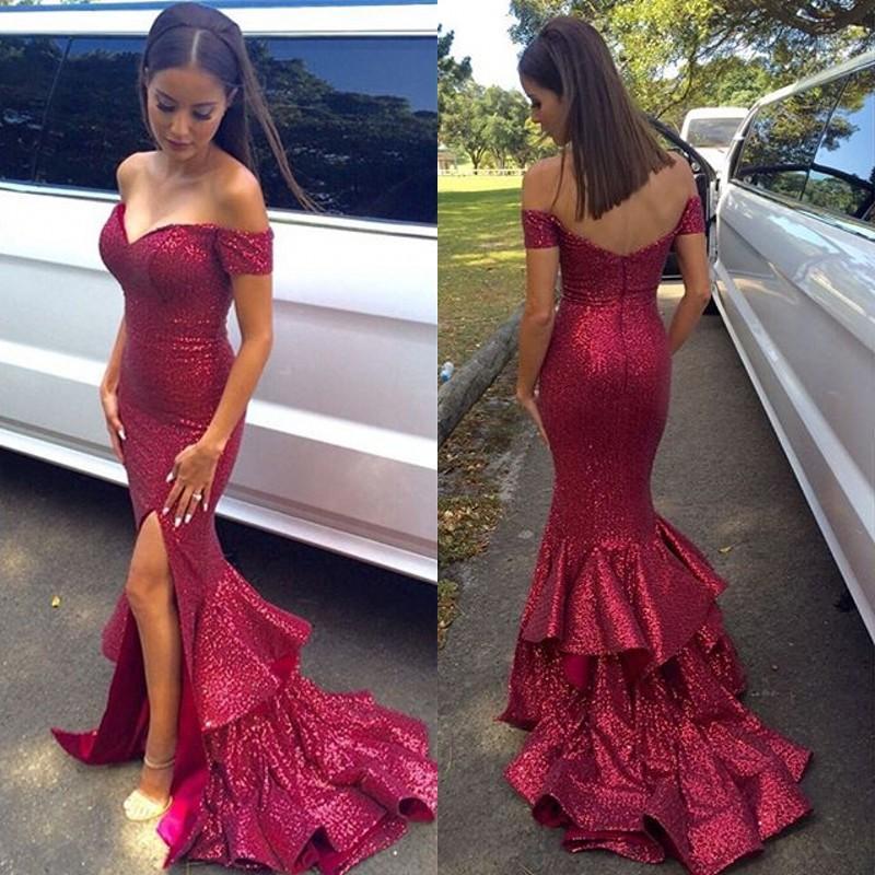 58148e85a5f Bling Bling Split Evening Dresses Mermaid Off The Shoulder Sequin Prom  Gowns Ruffled Skirt High Slit Zipper Up Back Formal Party Wear Short Prom  Dress 2015 ...