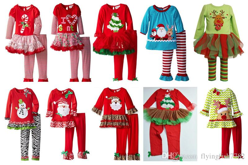 10 Desgin Girls Christmas Pajamas Suit Santa Claus Long Sleeve ...