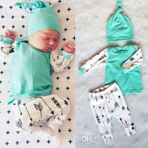 Newborn Baby Boy Girl suits casual Top+Long Pants+Hat Cotton Outfit cheap high quality kids Set top child party Clothes