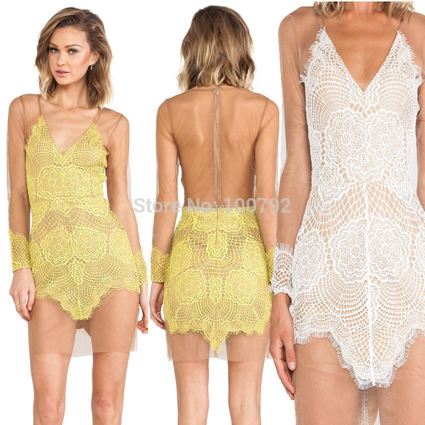 New 2434 Bandage Yellow Lace Long Sleeve Dresses Summer 2434 Sexy ...