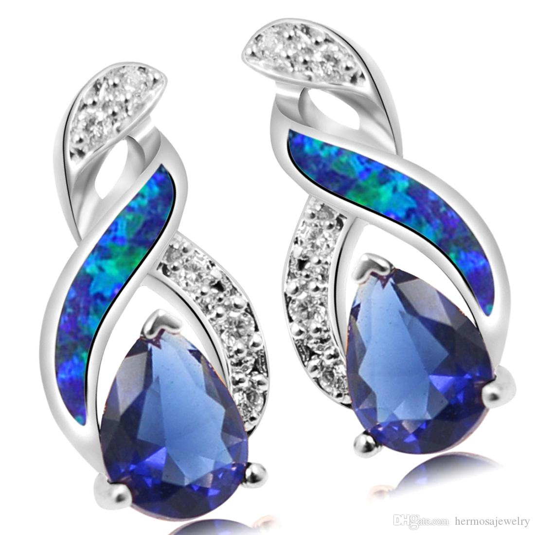 925 Sterling Silver Jewelry Sets Natural Opal Genuine Ocean Blue Sapphire 8 Design Pendant Necklace Earring Christmas Gifts OPJS6