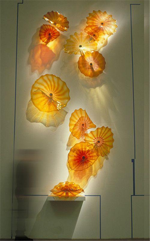 Modern and Art Design Glass Plates European Style Handmade Blown Glass Hanging Wall Art Hotel Decor Glass Plates