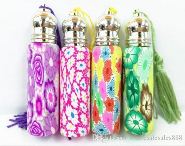 Satılık şişelerde 10 ml cam rulo, Fimo kil parfüm şişeleri toptan, püsküller parfüm şişesi toptan 200 Adet / grup DHL Tarafından Ücretsiz Kargo