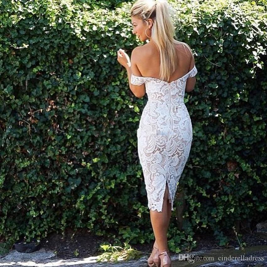 2018 Boho Lace Bridesmaid Dresses Off Shoulder Sheath Knee Length Backless Ivory Nude Wedding Guest Party Dresses Short Bridal Dresses