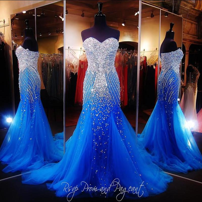 Royal Blue Luxury Prom Dresses Sweetheart Crystal Major Beading Mermaid Long Runway Evening Party Pageant Gowns For Woman Customized 2021