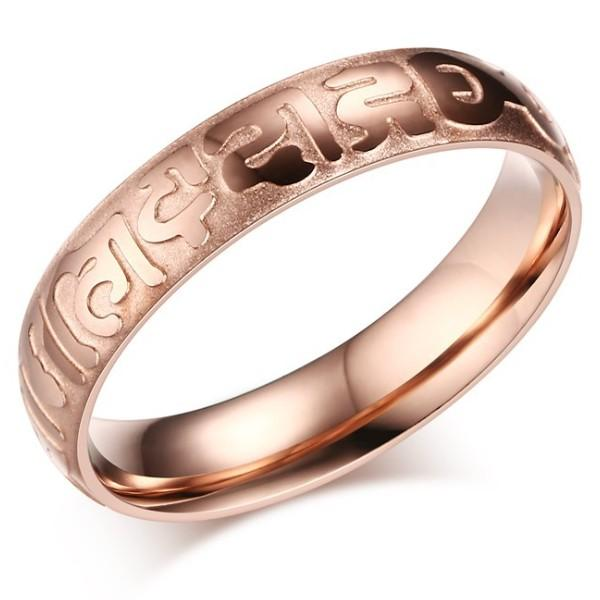 4mm Stainless Steel Corrosion Mantra Rose Gold Ring For Women Rose