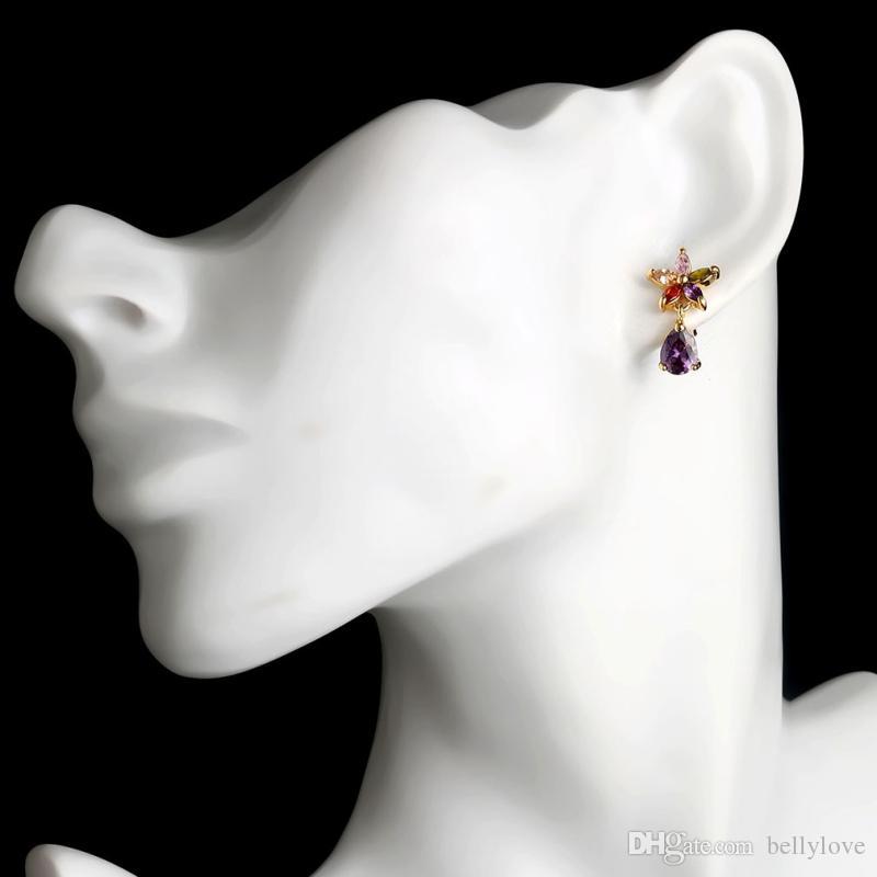 18 К Желтого Золота Покрытием Цирконий CZ Цветы Teardrop Серьги Стержня для Женщин Лучший Подарок