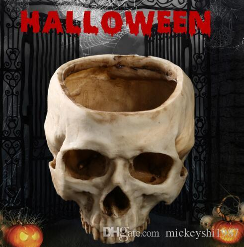 halloween decoration resin skull skeleton horrible scary props movie props model big flowerpot halloween resin skull halloween decoration birthday party - Scary Props
