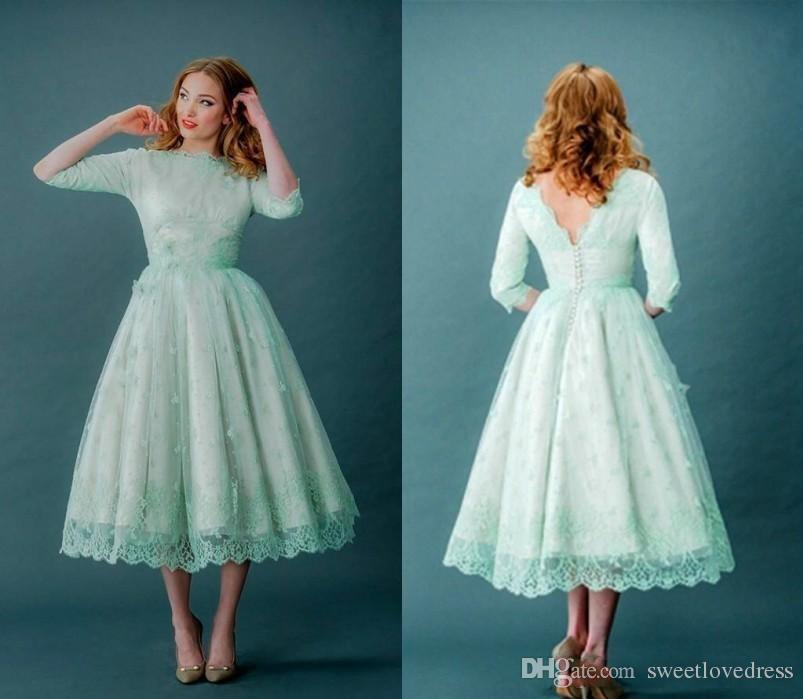 Discount 2018 New Mint Green Lace Wedding Dresses Long Sleeves ...