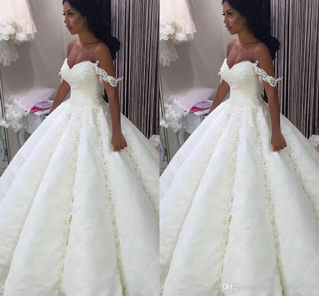 b17cebc167 2018 New Arabic Ball Gown Wedding Dresses Sweetheart Full Lace Appliques  Beaded Off Shoulder Puffy Vestido Plus Size Formal Bridal Gowns Ball Gowns  For Sale ...