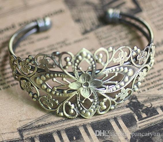 Adjustable Filigree Cuff Bangles &Bracelets Blank Base Antique Bronze/Silver Plated/Gold Plated Cuffs