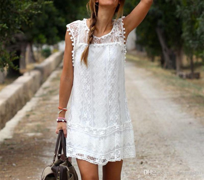Summer Sexy Women Round Neck Loose Lace Sleeveless Beach A-line Жилет Платье Tassel Solid Mini Short Dress
