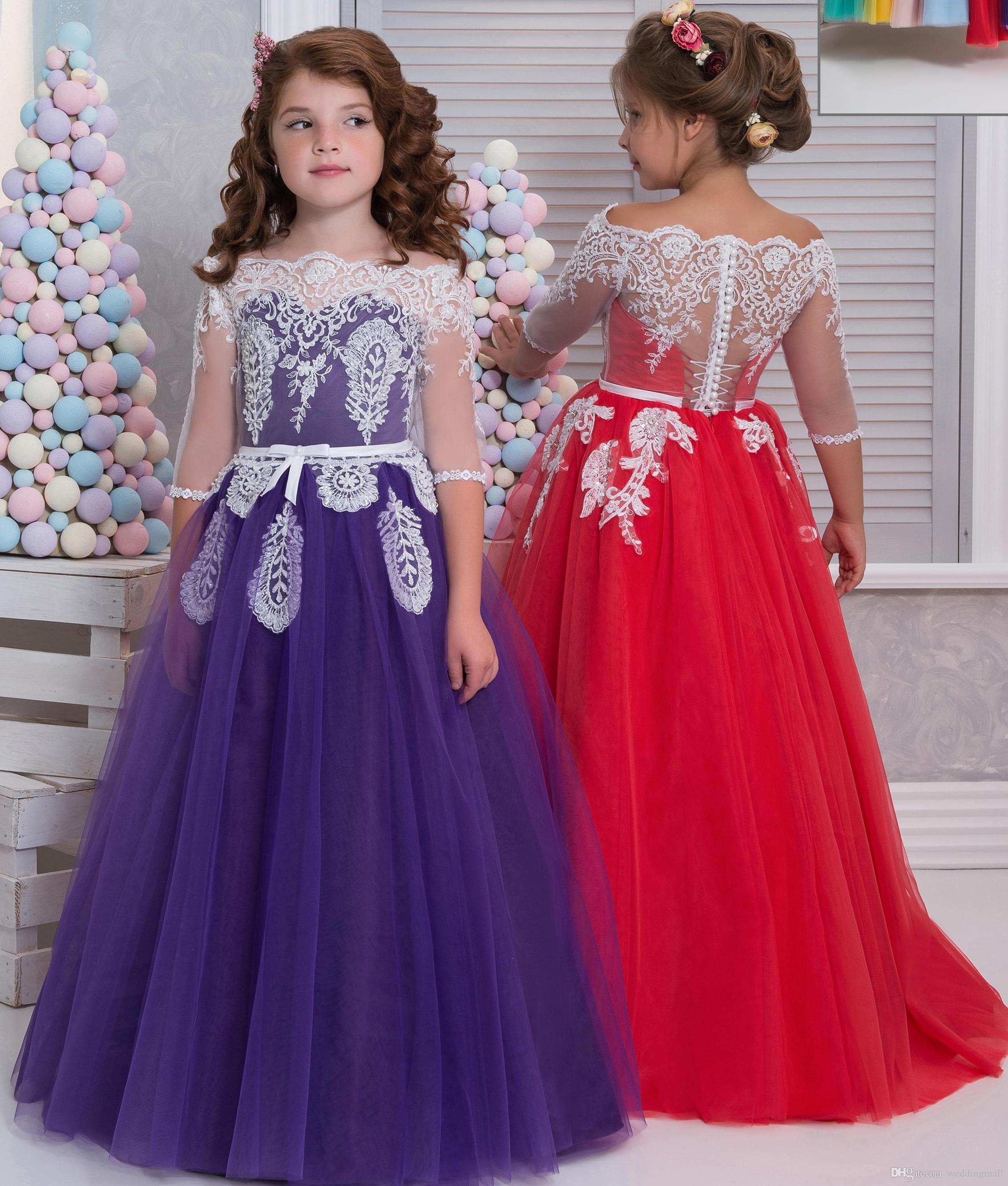 Lace Beaded Arabic 2017 Flower Girl Dresses 3/4 Long Sleeves Child ...