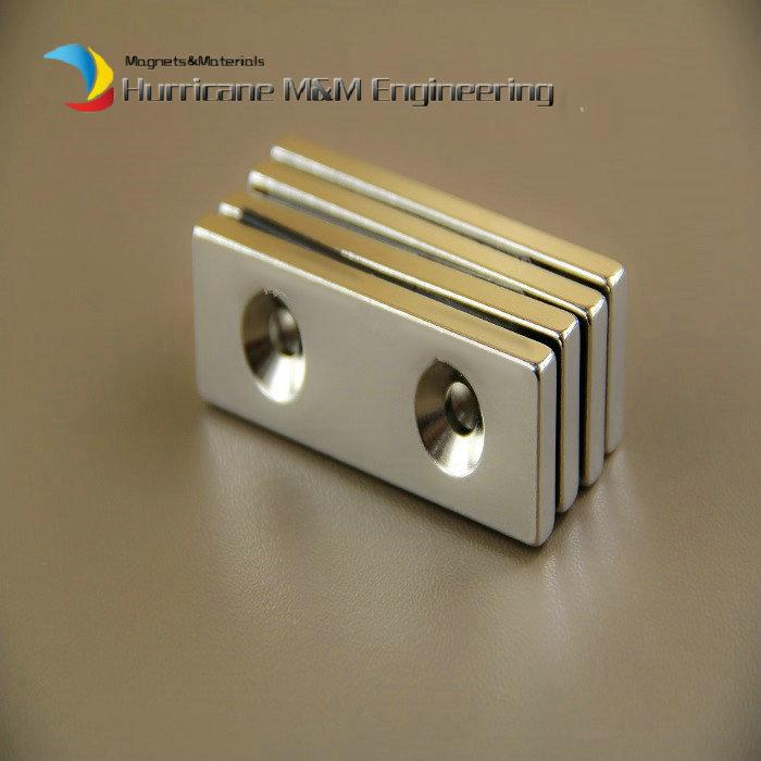 NdFeB Fix Magnet 60x20x5mm with 2 M5 Screw Countersunk Holes Block N42 Neodymium Rare Earth Permanent Magnet
