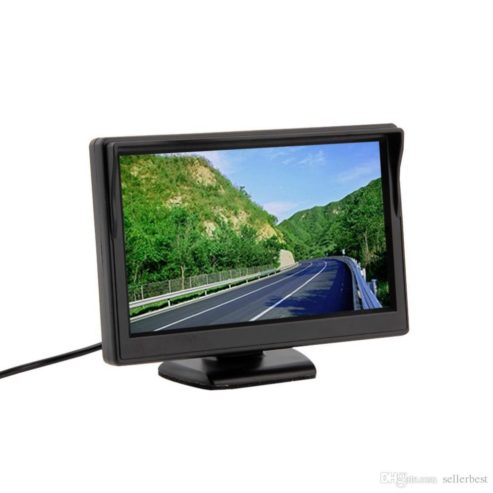 5 pouces couleur TFT LCD Mini moniteur de vue arrière de voiture Parking écran de moniteur de rétroviseur pour DVD VCD Caméra de recul