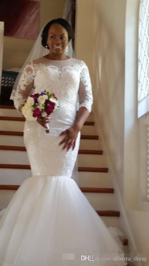 Berta Mermaid Wedding Dresses 2016 Brazilian Lace Beads Three Quarter Sleeve Sheer Neck Plus Size Bridal Gowns Custom Made