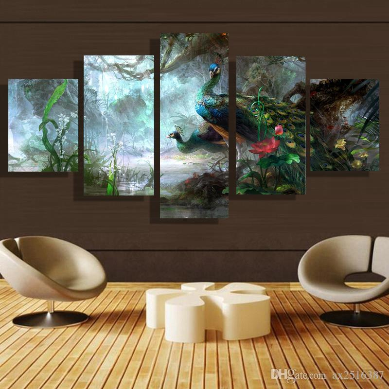 5p modern home HD picture oil painting canvas print art wall living room children room study decoration theme - Peacock no frame