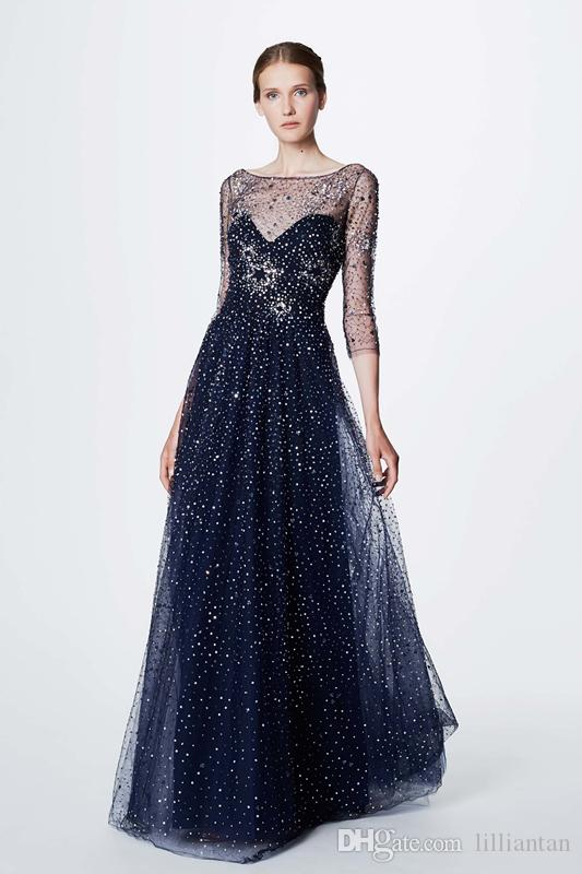 Black Long Evening Dresses Marchesa Notte Resort Beads Crystal Party ...