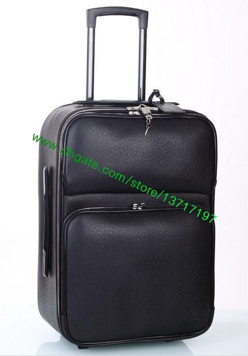 2e95d8517f3 Top Grade Black Real Leather Rolling Luggage Fashion Designer ...