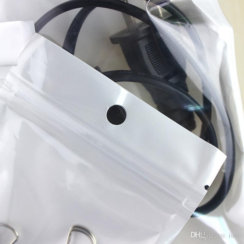 12 * 20 cm Limpar + branco pérola de Plástico Poli OPP embalagem Zip lock Pacotes de Varejo USB Jóias PVC saco 10 * 18 cm 6 * 10 cm 7.5 * 12 cm 16x24 cm 18x26 cm