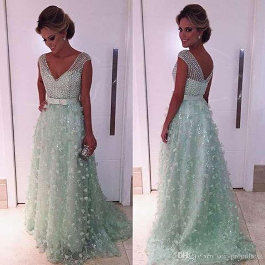 a4ad8d0819105 Mint Green V Neck Sparkly Prom Dresses 2017 Beaded Applique Backless Evening  Gowns Arabic Floor Length Formal Party Dresses Robe De Soiree