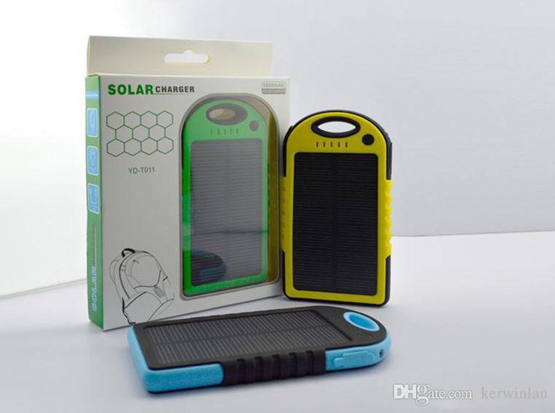 5000mAh 태양 열 충전기 및 배터리 태양 전지 패널 휴대용 전원 은행 휴대 전화 노트북 카메라 MP4 손전등 방수 shockproof