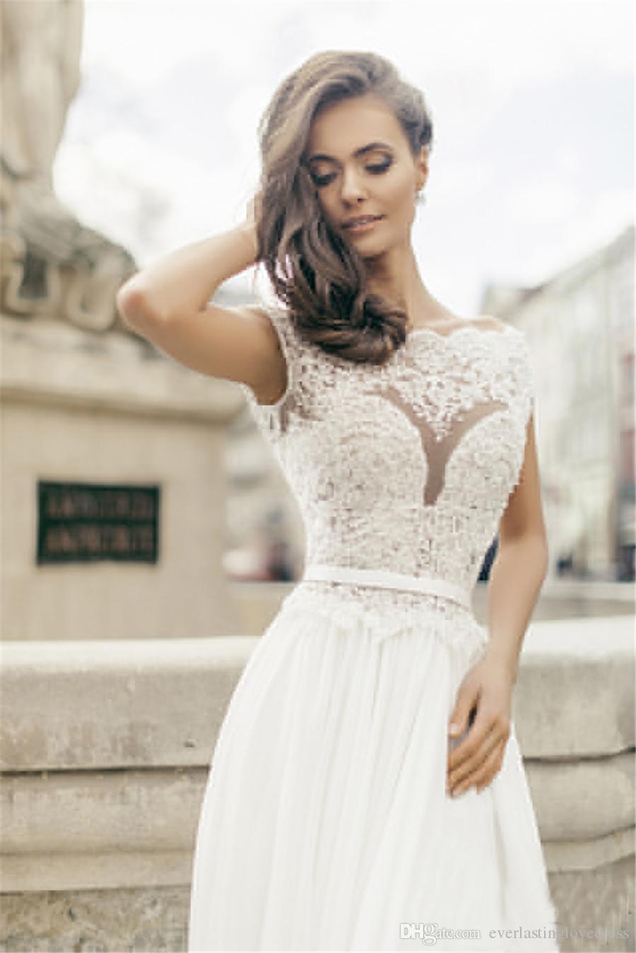 Top in pizzo Applique corsetto A-line da cerimonia nuziale chiffon senza maniche Vedere attraverso Customzied abito da sposa vestidos de Noiva sereia