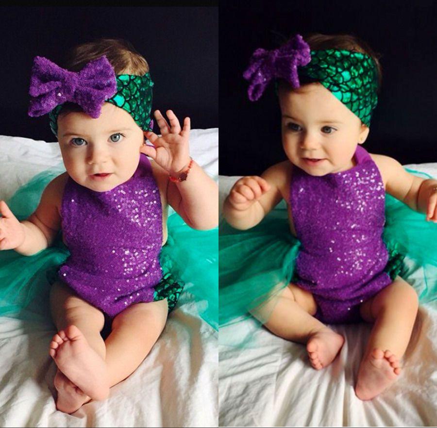 HOT vente fille costume natation bébé filles paillettes Body sirène Tulle barboteuse mode combinaison cheveux bande fille mignonne Sunsuit tenues 6-24 M