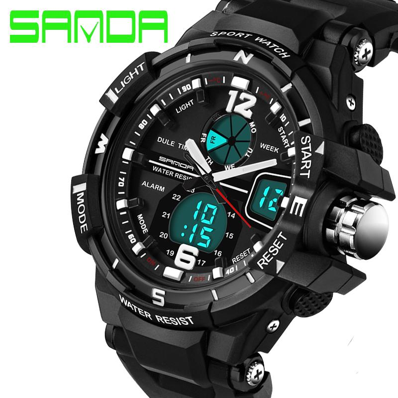 2018 New Brand Sanda Fashion Watch Men G Style Waterproof Sports Military Watches Shock Luxury Analog Digital Sports Watches Men