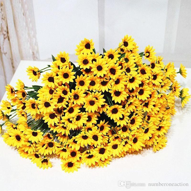 14 헤드 가짜 해바라기 인공 실크 꽃 꽃다발 홈 결혼식 꽃 장식