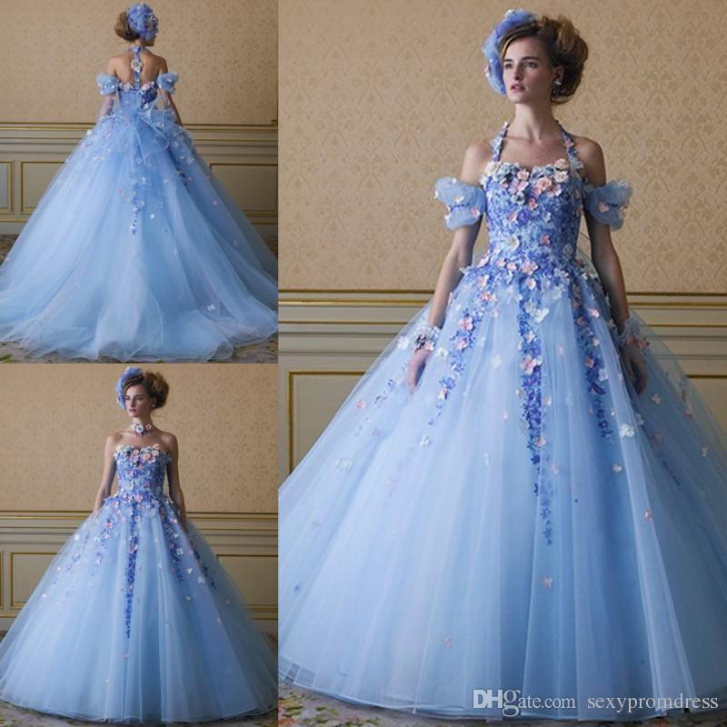 Ice Blue Color Flowers Wedding Dresses With Detachable Straps 2017