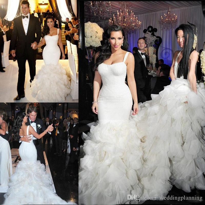 Kim Kardashian 2018 New Wedding Dress Sexy Spaghetti Strapls Organza Ruffle Mermaid Contoured Floor Length Hi-Lo Wedding Gowns