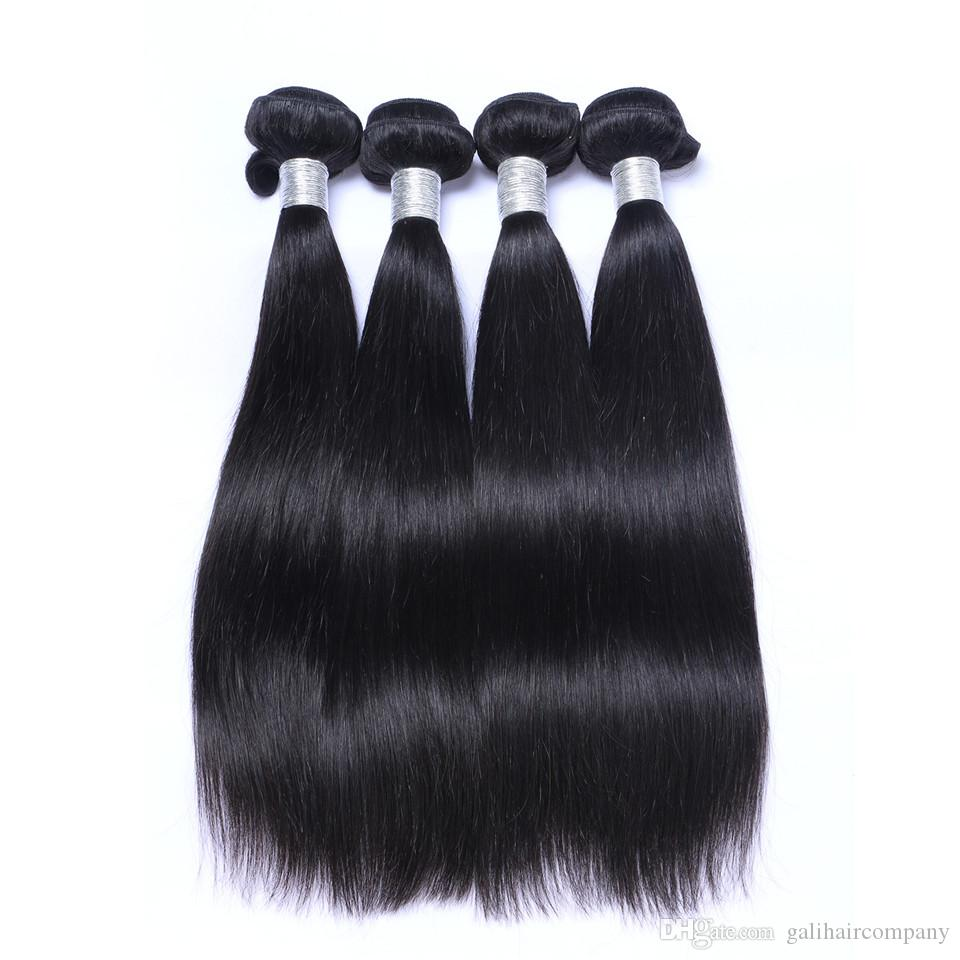 8A High Quality Malaysian Straight Hair Unprocessed Human Hair Extensions 8-30inch Natural Black Color Full Dyeable